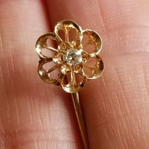 Antique genuine diamond 18k gold hat pin